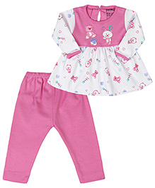 Babyhug Full Sleeves Frock And Legging - Teddy Bear Print