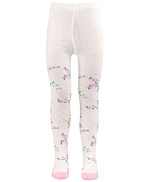 Mustang Footed Tights Stocking White - Floral Print