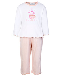 Simply Full Sleeves Night Suit - Hearts Print