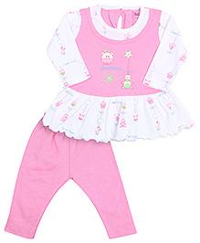 Babyhug Full Sleeves Frock And Legging - Pink