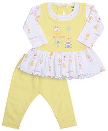 Babyhug Full Sleeves Frock And Legging - Yellow