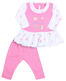 Babyhug Full Sleeves Frock And Legging - Pink
