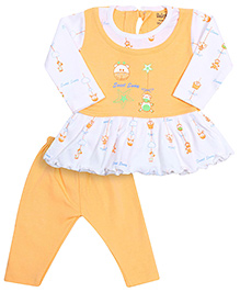 Babyhug Full Sleeves Frock And Legging - Mango Colour