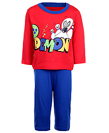 Kanvin Full Sleeves T-Shirt And Legging Set - Red And Royal Blue