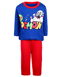 Kanvin Full Sleeves T-Shirt And Legging Set - Royal Blue And Red