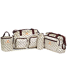 Fab N Funky Mother Bag Set Heart Print - Brown And Cream