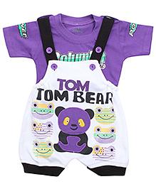 Babyhug Dungaree With Half Sleeves T-Shirt - Tom Tom Bear