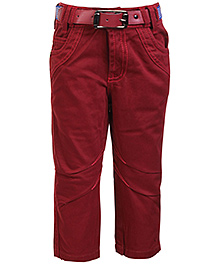Little Kangaroos Trouser With Belt - Maroon