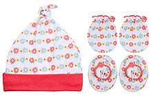 Babyhug Cap Mittens And Booties Set - Floral Print
