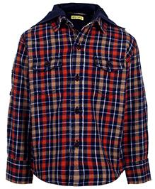 Gini & Jony Full Sleeves Hooded Shirt - Checks Print