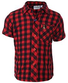 Babyhug Half Sleeves Shirt Red - Checks Print