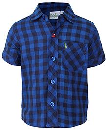 Babyhug Half Sleeves Shirt Blue - Checks Print