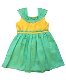 Campana Chiffon And Dupion Peacock Party Dress - Layered Yoke