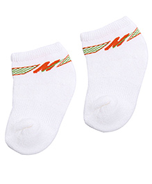Mustang Ankle Length Socks - White And Orange