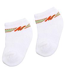 Mustang Ankle Length Socks - White And Orange