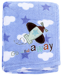 Babyhug Blanket Sky Print And Airplane Patch - Blue