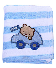 Babyhug Blanket Stripes Print And Car Patch - Blue
