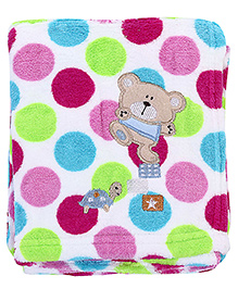 Babyhug Blanket Dots Print And Teddy Patch - Multi Colour