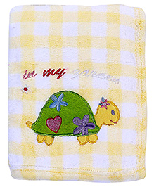 Babyhug Blanket Checks Print And Tortoise Patch - Yellow