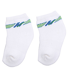 Mustang Ankle Length Socks - White And Blue