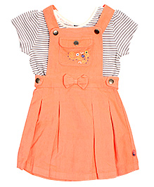 FS Mini Klub Frock Style Dungaree With Inner Tee - Printed