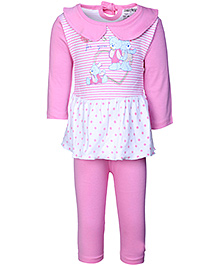 Babyhug Frock Style Top And Leggings - Teddy And Stripes