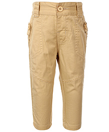 Babyhug Trousers With Side Button Design - Beige