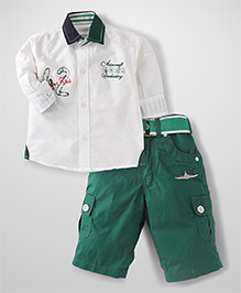 Active Kids Wear Half Sleeves Shirt And Capri Aircraft Embroidery - White And Green