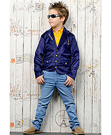 Active Kids Wear Shirt And Jeans With Jacket - Royal Blue