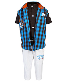 Active Kids Wear Shirt And Capri With Jacket AK 98 Embroidery - Blue