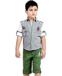 Active Kids Wear Shirt And Capri With Jacket - D 51 Sailing Embroidery