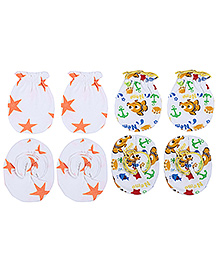 Ben Benny Mitten And Booties Set Star And Multi Print - White