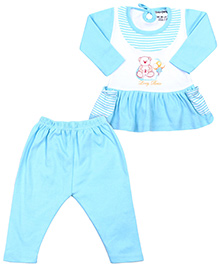 Babyhug Full Sleeves Frock And Legging Set - Teddy Bear Print