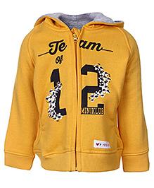FS Mini Klub Full Sleeves Hooded Front Open Sweatshirt - Yellow