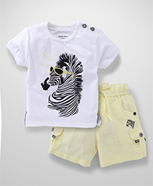 Active Kids Wear Half Sleeves T-Shirt And Shorts Zebra Print - White And Yellow