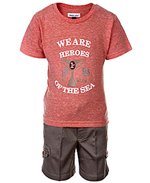 Active Kids Wear T-Shirt And Shorts We Are Heroes Of The Sea Print - Orange
