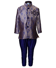 Babyhug Full Sleeves Kurta And Jodhpuri Pajama - Self Pattern