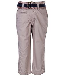 Gini & Jony Fixed Waist Trouser With Belt - Light Grey
