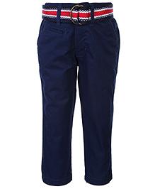 Gini & Jony Fixed Waist Trouser With Belt - Navy