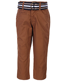 Gini & Jony Fixed Waist Trouser With Belt - Brown