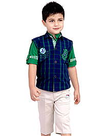 Active Kids Wear Shirt And Capri With Jacket - Roll Up Sleeves