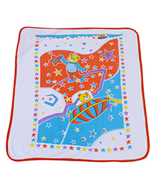 Babyhug Hooded Wrapper Teddy And Star Print - Orange