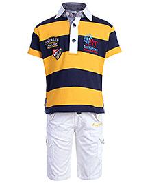 Active Kids Wear Half Sleeves T-Shirt And Half Pant - Yellow And Navy