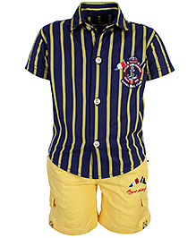 Active Kids Wear Half Sleeves Shirt And Half Pant - Navy And Yellow