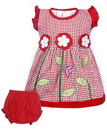 Babyhug Short Sleeves Frock With Bloomer - Floral Pattern