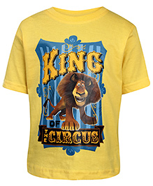 Madagascar Short Sleeves T-Shirt Yellow - Lion Print
