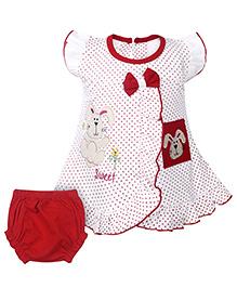 Babyhug Frock With Bloomer - Bunny Embroidery