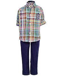 Active Kids Wear 2 Piece Set With Belt - Check Pattern