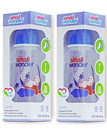 Small Wonder Candy Polypropylene Feeding Bottle Blue Pack Of 2 - 250 Ml