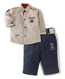 Active Kids Wear Shirt Capri Suit With Belt - Khaki
